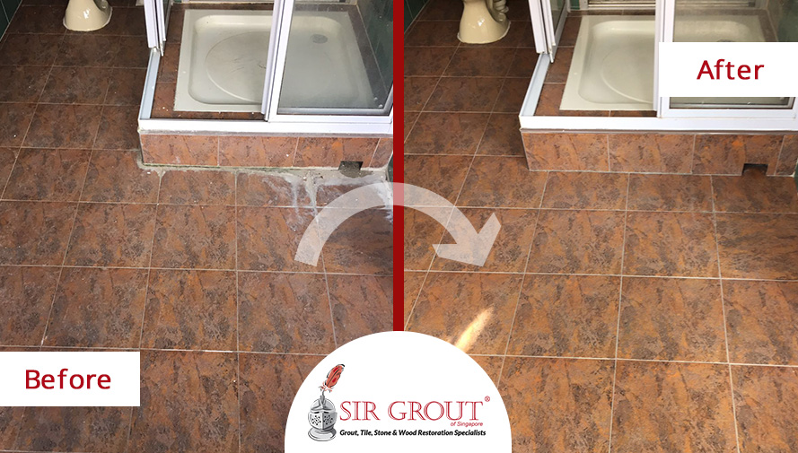 Deep Water Stains Completely Disappeared From This Farrer Road HDB - Bathroom tile restoration