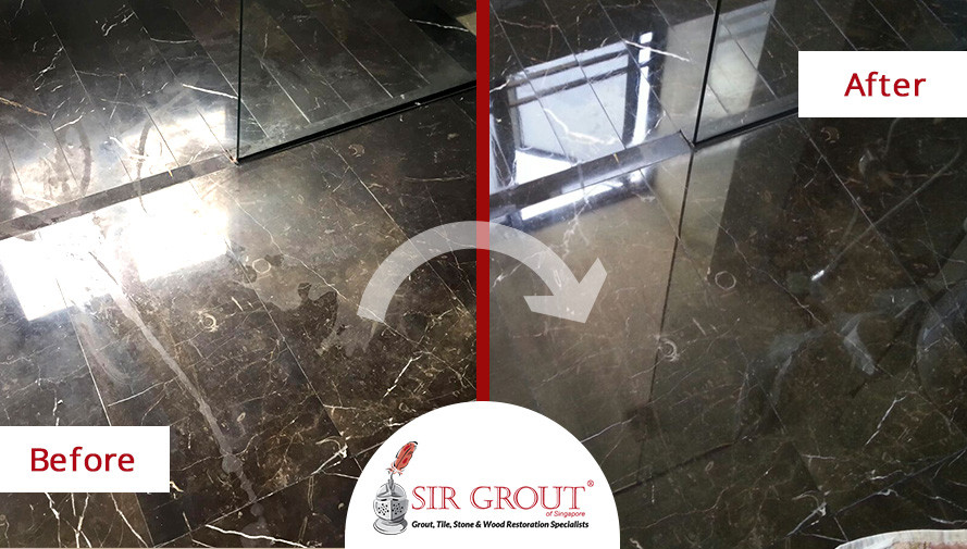 Stone Polishing Service in Singapore Renews the Look of This Etched Marble Shower Floor