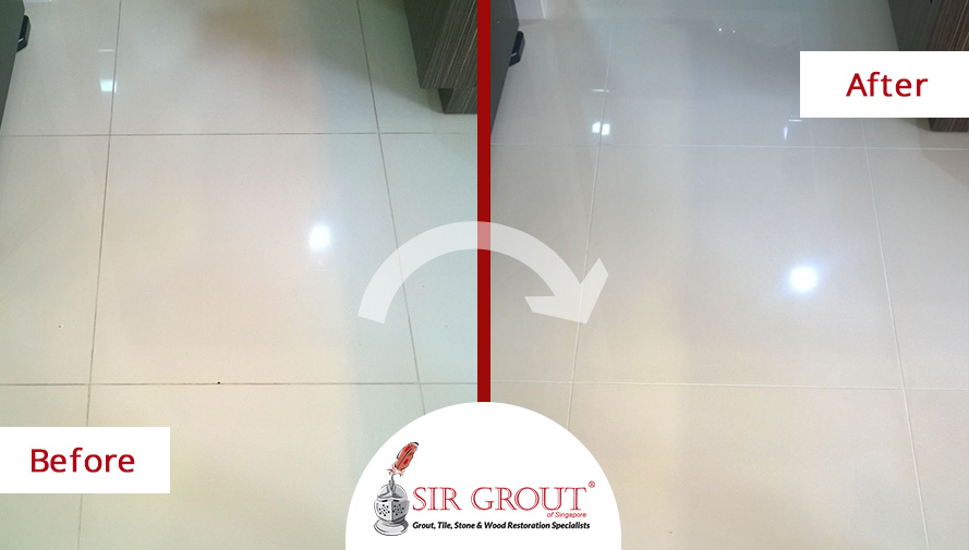 a grout cleaning service in singapore gave new life to this tile floor