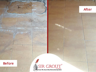 Before and After Picture of a Tile Cleaning Job in Singapore.