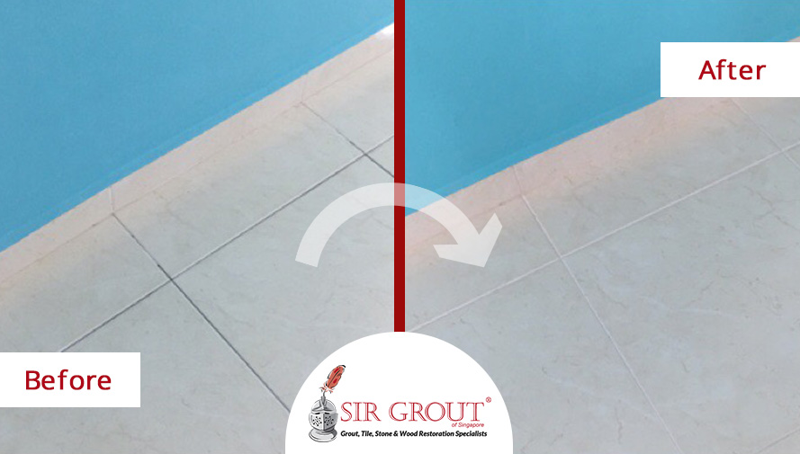 Before and After Picture of a Grout Cleaning Service in Singapore