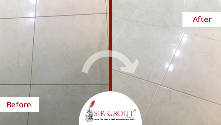 Before and After Picture of a Tile Floor Grout Cleaning Service in Singapore