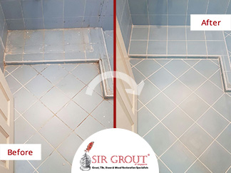 Before And After Picture Of A Bathroom Tile And Grout Cleaning Service In  Singapore