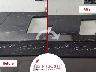 Before and After Picture of a Stone Polishing Service in Singapore