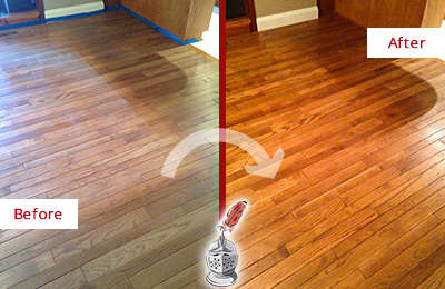 Before and After Picture of a MacPherson Wood Sandless Refinishing Service on a Dull Floor to Recover Its Sheen