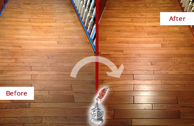 Before and After Picture of a Katong Wood Sandless Refinishing Service on a Dull Hallway