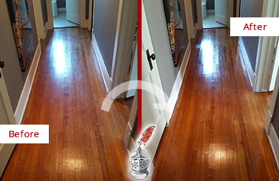 Before and After Picture of a MacPherson Wood Sandless Refinishing Service on a Floor to Eliminate Scratches