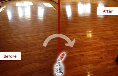 Before and After Picture of a MacPherson Wood Sandless Refinishing Service on a Room Floor to Remove Scratches