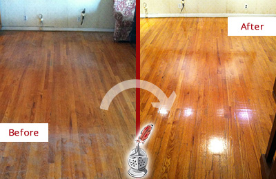 Before and After Picture of a Katong Wood Sandless Refinishing Service on a Stained Floor