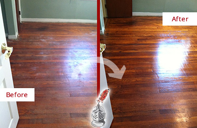 Before and After Picture of a MacPherson Wood Sandless Refinishing Service on a Dull Floor to Remove Stains