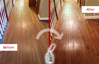 Before and After Picture of a MacPherson Wood Sandless Refinishing Service on a Worn Out Floor