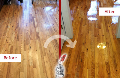 Before and After Picture of a Katong Wood Sandless Refinishing Service on a Worn Out Hallway