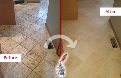 Before and After Picture of a Jalan Kayu Kitchen Marble Floor Cleaned to Remove Embedded Dirt