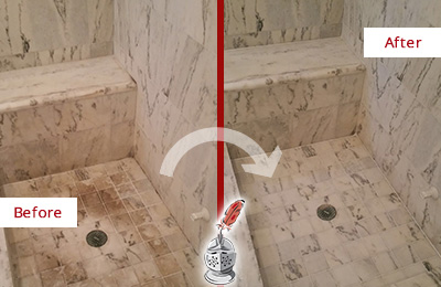 Before and After Picture of a Dirty Jalan Kayu Marble Shower Cleaned to Eliminate Dark Stains
