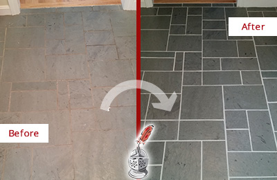 Before and After Picture of a Jalan Kayu Slate Floor Cleaned to Remove Deep-Seated Dirt