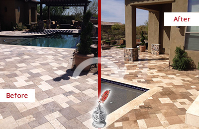 Before and After Picture of a Dull MacPherson Travertine Pool Deck Cleaned to Recover Its Original Colors