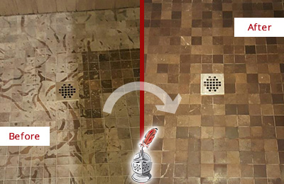 Before and After Picture of a Stained Jalan Kayu Marble Shower Floor Cleaned to Remove Etching