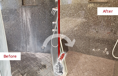 Before and After Picture of a Jalan Kayu Granite Shower Cleaned to Remove Mineral Deposits