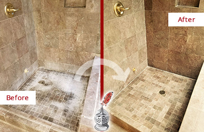 Before and After Picture of a Bishan Travertine Shower Cleaned to Eliminate Water Spots
