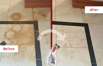 Before and After Picture of a Jalan Kayu Marble Floor Cleaned to Eliminate Rust Stains
