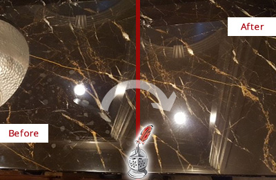 Before and After Picture of a Bukit Batok Marble Countertop Cleaned to Remove Water Spots