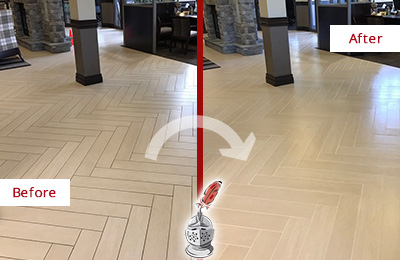 Before and After Picture of a Lim Chu Kang Hard Surface Restoration Service on an Office Lobby Tile Floor to Remove Embedded Dirt