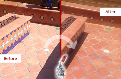 Before and After Picture of a Jalan Kayu Hard Surface Restoration Service on a Dull Terracotta Patio Floor to Recover Its Color