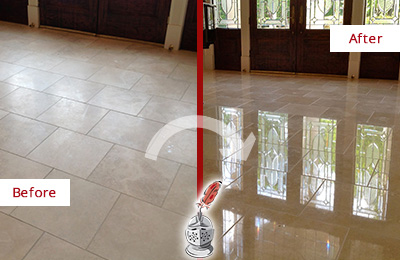 Before and After Picture of a Woodlands Hard Surface Restoration Service on a Dull Travertine Floor Polished to Recover Its Splendor