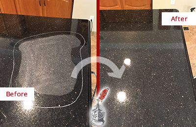 Before and After Picture of a Lim Chu Kang Hard Surface Restoration Service on a Granite Countertop to Remove Scratches