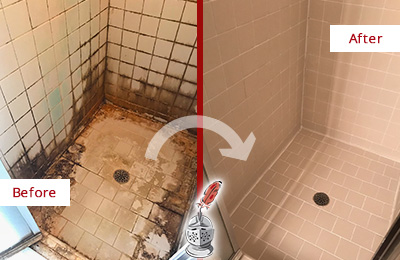 Before and After Picture of a Woodlands Hard Surface Restoration Service on a Tile Bathroom to Repair Water Damage