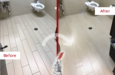 Before and After Picture of a Tanglin Office Restroom's Grout Cleaned to Remove Dirt