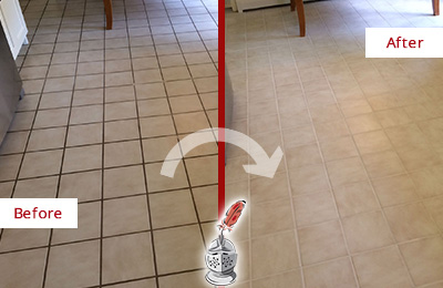 Before and After Picture of a Pulau Kitchen Tile Floor with Recolored Grout