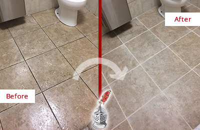 Before and After Picture of a Woodlands Office Restroom Floor Recolored Grout