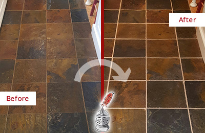 Before and After Picture of a Woodlands Slate Floor Recolored Grout