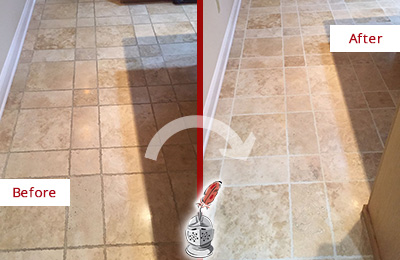 Before and After Picture of a Woodlands Travertine Kitchen Floor Recolored Grout