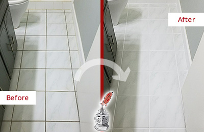 Before and After Picture of a Woodlands White Ceramic Tile with Recolored Grout