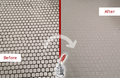 Before and After Picture of a Tiong Bahru White Mosaic Tile Recolored Grout