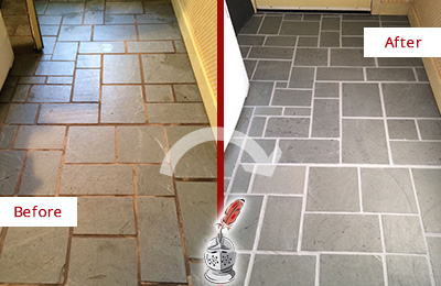 Before and After Picture of Damaged Marina Squre Slate Floor with Sealed Grout