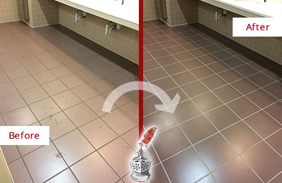 Before and After Picture of Dirty Marina Squre Office Restroom with Sealed Grout