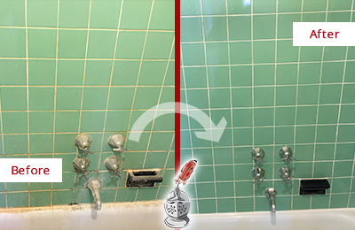 Before and After Picture of a Seletar Bath Tub Grout Sealed to Avoid Water Damage