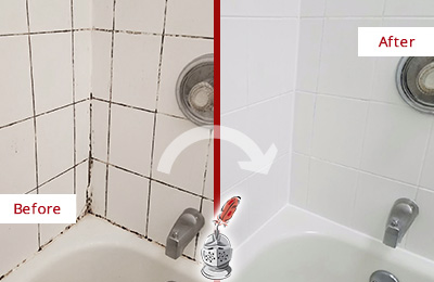 Before and After Picture of a Seletar Tub with Sealed Grout to Eliminate Mold