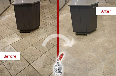Before and After Picture of a Marina Squre Kitchen Floor Grout Sealed to Remove Stains